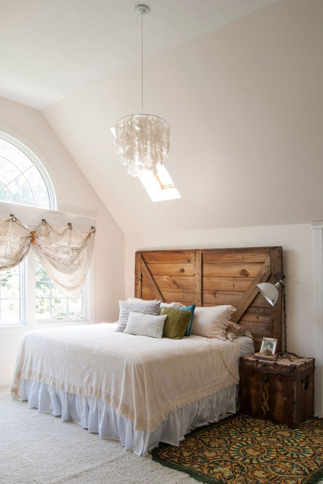 Angled Headboard with Eclectic Bedroom Also Arched Window Batten Headboard Bed Skirt Capiz Shell Chandelier High Ceiling Palladian Window Skylight Small Chandelier Wood Headboard