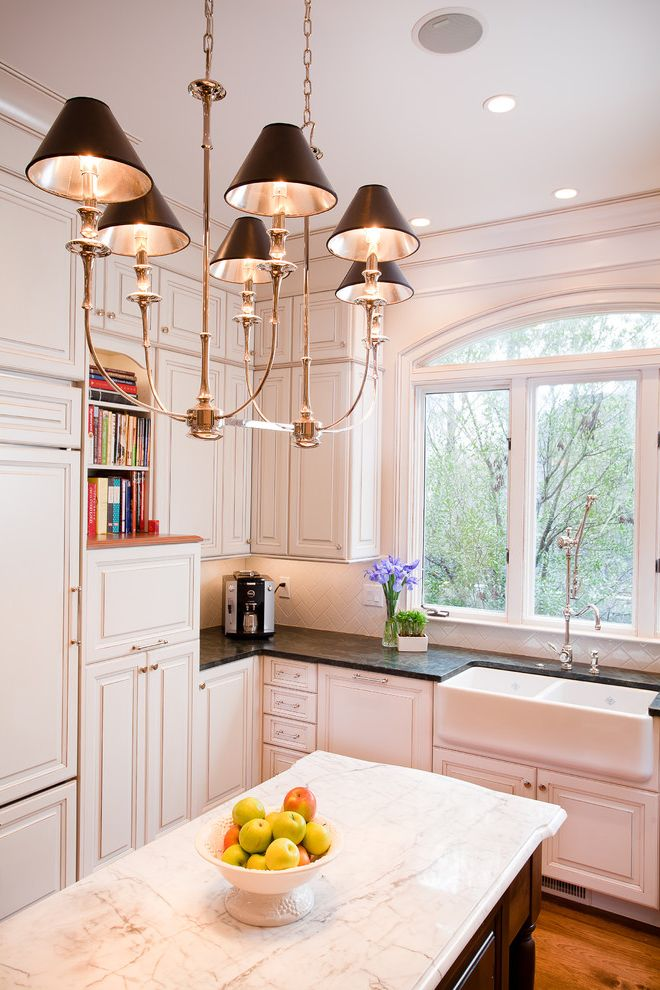 Annapolis Ob Gyn   Traditional Kitchen Also Arched Window Chandelier Custom Farmhouse Sink Faucet Limestone Marble Shelves Speaker Stone Countertop