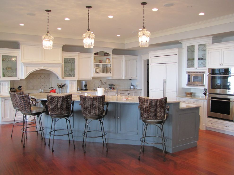 Annapolis Ob Gyn   Traditional Kitchen Also Blue Painted Island Glass Front Cabinets Island Lighting Island Seating Island Sink White Cabinets