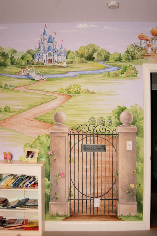 Annie Mac Mortgage   Traditional Bedroom Also Castle Mural Childrens Room Mural Cinderella Mural Garden Gate Garden Gate Mural Princess Princess Mural