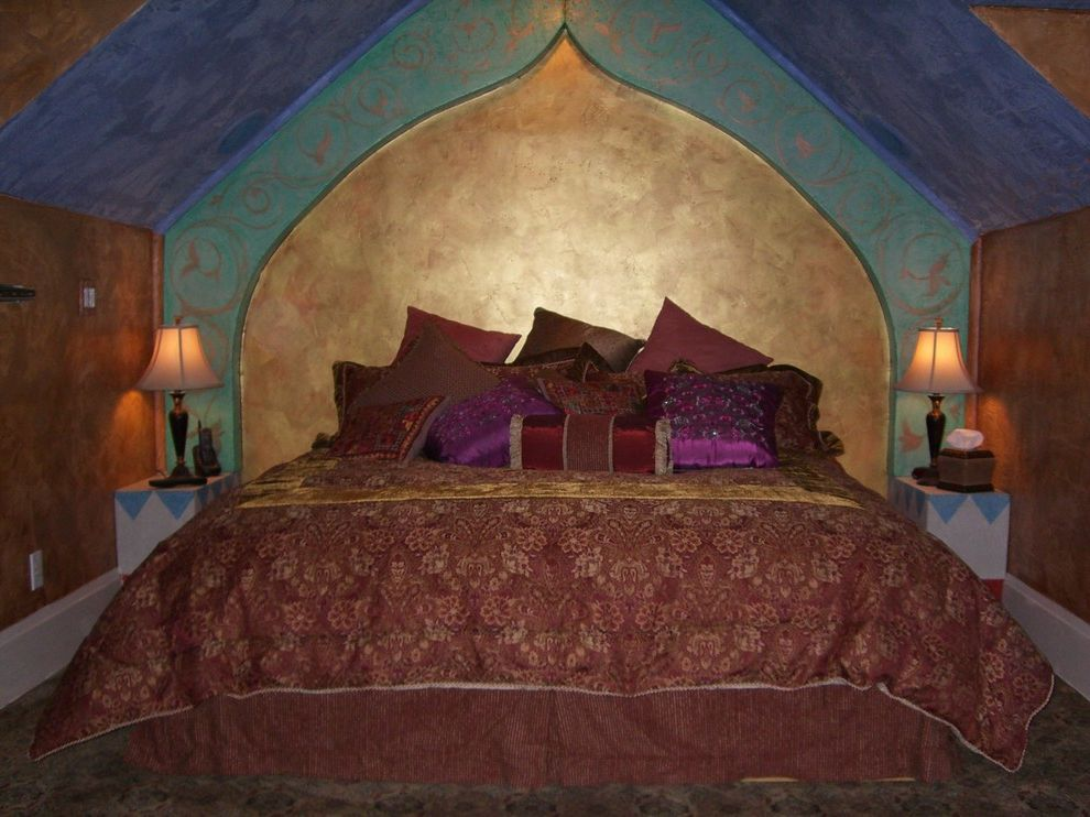 Anniversary Inn Logan with Eclectic Bedroom Also Bed Ethnic Gold Leaf Lighting Venetian Plaster
