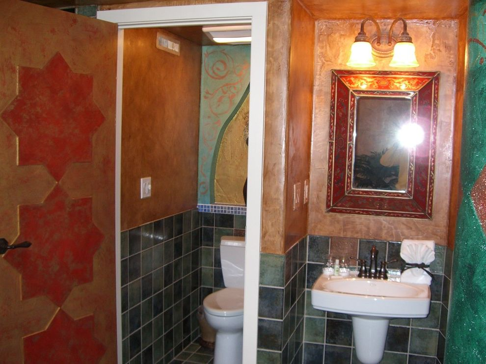 Anniversary Inn Logan with Eclectic Powder Room  and Power Room Toilet Room Faux Finish Deco Tile