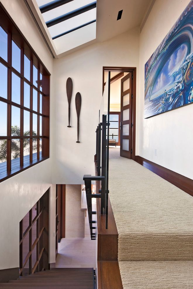 Anso Nylon Carpet   Contemporary Hall Also Artwork Carpet Runner Carpeted Staircase Dark Stained Wood Frosted Glass Large Windows Metal Railing Muntins Paddles Sky Light Vaulted Ceiling White Walls