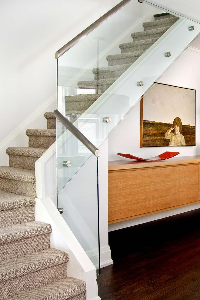 Anso Nylon Carpet   Contemporary Staircase  and Art Cabinet Carpeted Stairs Floating Cabinet Floating Sideboard Glass Railing Hall Steel