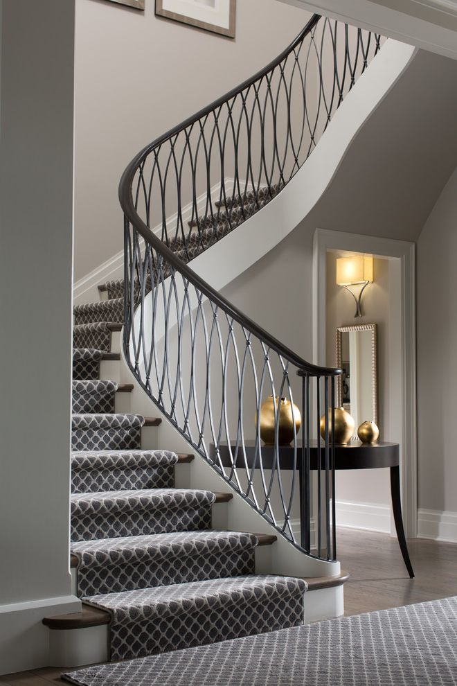 Anso Nylon Carpet   Transitional Staircase Also Architectural Details Banister Classic Console Table Curved Staircase Elegant Entryway Gold Gray Patterned Carpet Runner Interior Design Details Silver Simple Sleek Design Stair Design Stair Tread Rugs