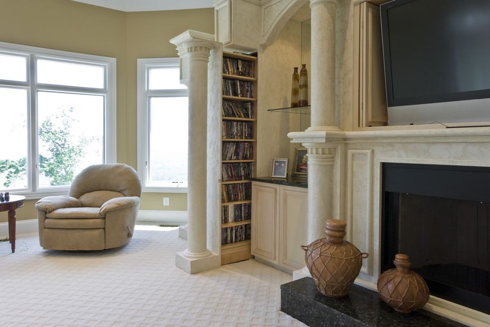 Anso Nylon Carpet with Traditional Living Room Also Bookshelf Classical Column Fireplace Granite Hearth Hearth Mantel Urn White Rug