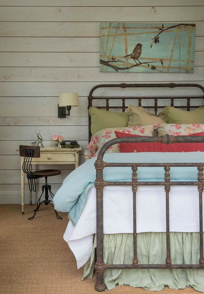 Antique Rod Iron Beds with Farmhouse Bedroom Also Blue Bedding Distressed Nightstand Green Bed Skirt Metal Bed Frame Metal Desk Chair Wall Art Wall Sconce Wood Wall