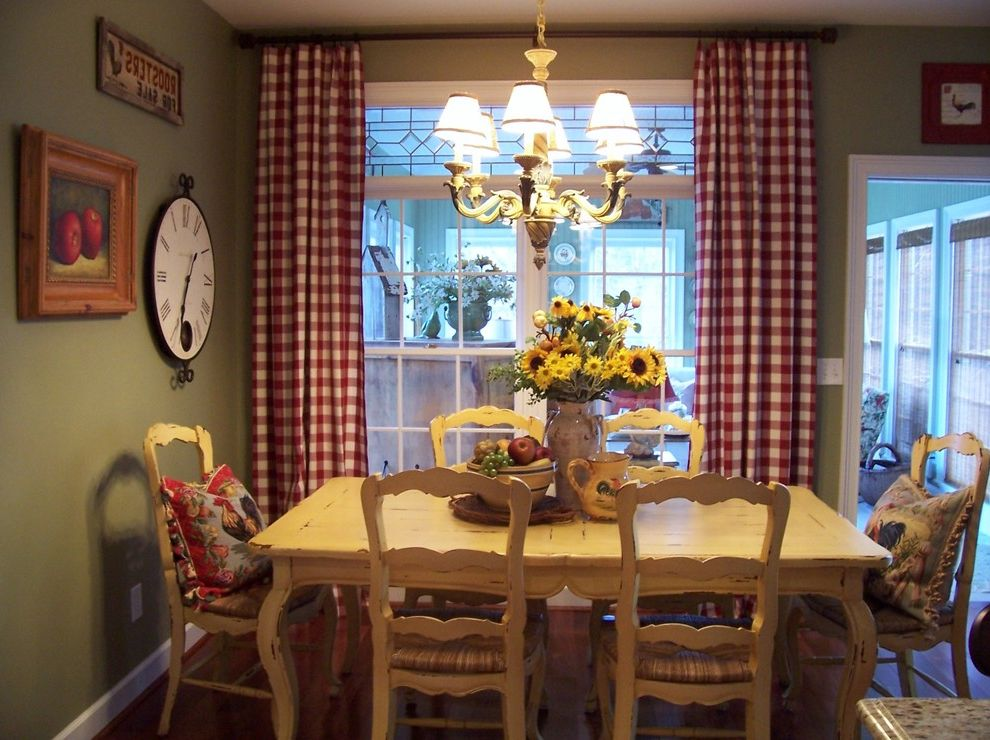 Apple Store Augusta Ga with Farmhouse Dining Room  and Breakfast Room Centerpiece Chairs Chandelier Checked Panels Chippy Yellow Table Country Country French Off White Dining Table Rooster Seat Cushions Shabby Chic Wood Dining Chairs Wood Dining Table