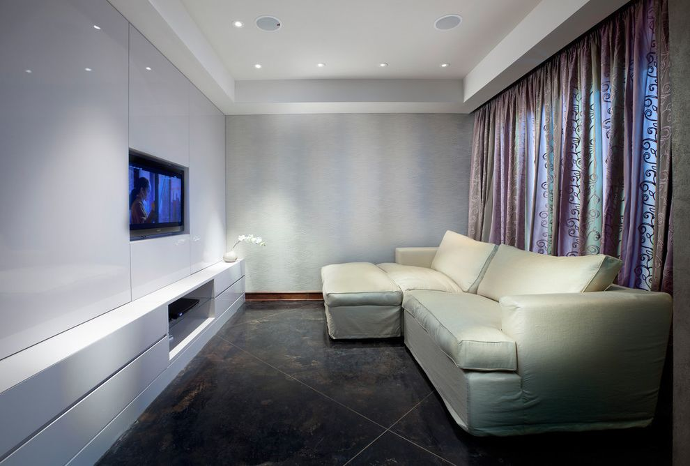 Apple Valley Theater   Modern Home Theater Also Built Ins Ceiling Lighting Corner Sofa Curtains Drapes Glossy Monochromatic Recessed Lighting Sectional Sofa Stone Flooring Tray Ceiling White Room White Wall Window Treatments