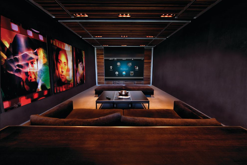 Apple Valley Theater with Contemporary Home Theater Also Artwork Black Walls Ceiling Lighting Coffee Table Dark Colors Dim Earth Tones Home Theater Movies Ottomans Screening Room Sofa Wood Paneling