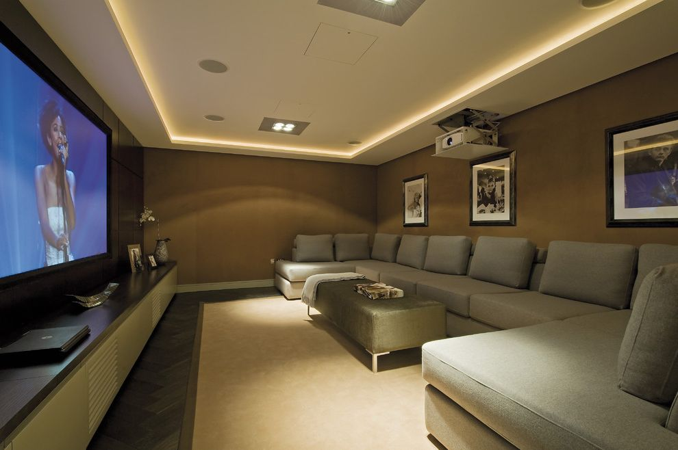 Apple Valley Theater with Contemporary Home Theater Also Brown Walls Ceiling Lighting Corner Sofa Gray Sofa Home Theater Large Sofa Long Media Cabinet Movie Room Projector Sectional Sofa Soffit U Shaped Sofa Upholstered Ottoman