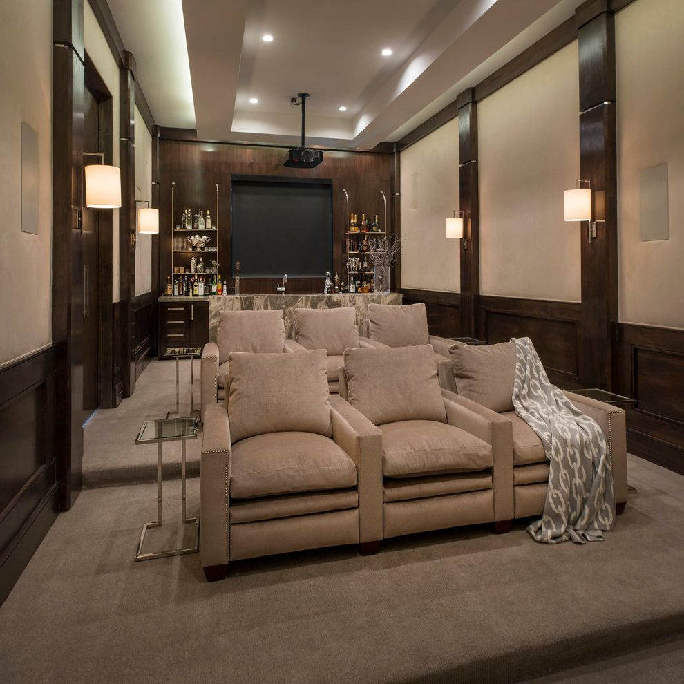 Apple Valley Theater with Transitional Home Theater  and Beige Contemporary Cove Lighting Elegant Home Theater Home Bar Marble Neutral Neutral Colors Polished Nickel Projector Side Table Sofa Table Suede Walls Transitional Tray Ceiling Walnut Wood Wood