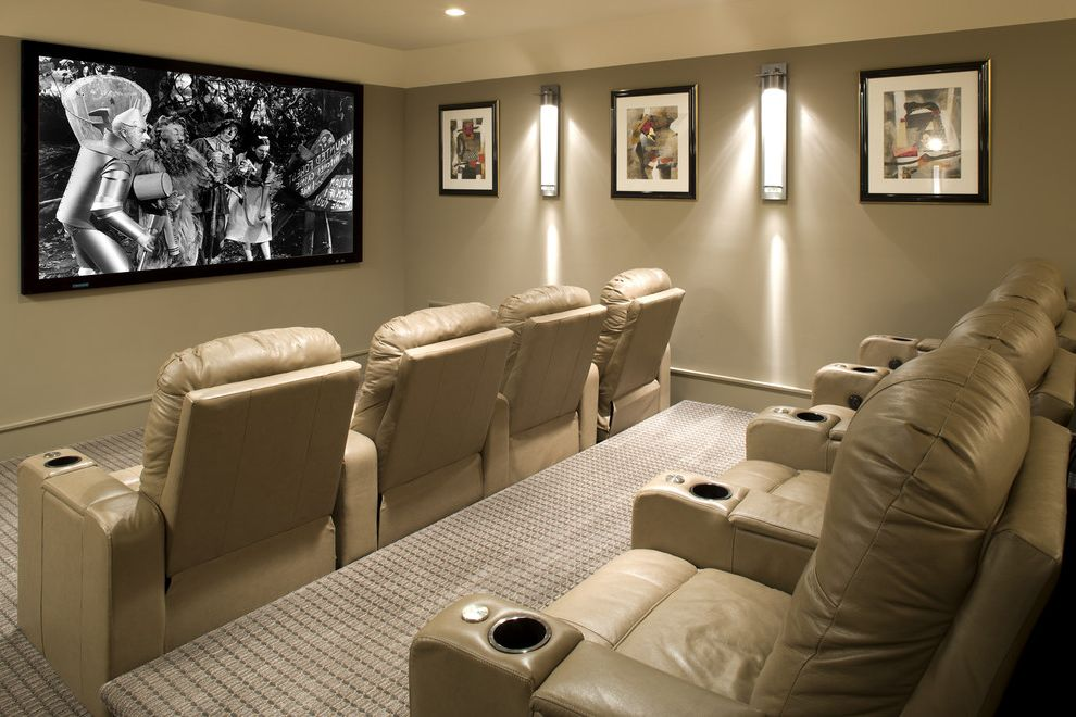 Apple Valley Theater with Transitional Home Theater  and Home Theater Home Theatre Leather Chairs Media Media Room Movie Theater Movie Theatre Projection Theater Theatre Tiered Tiered Seating