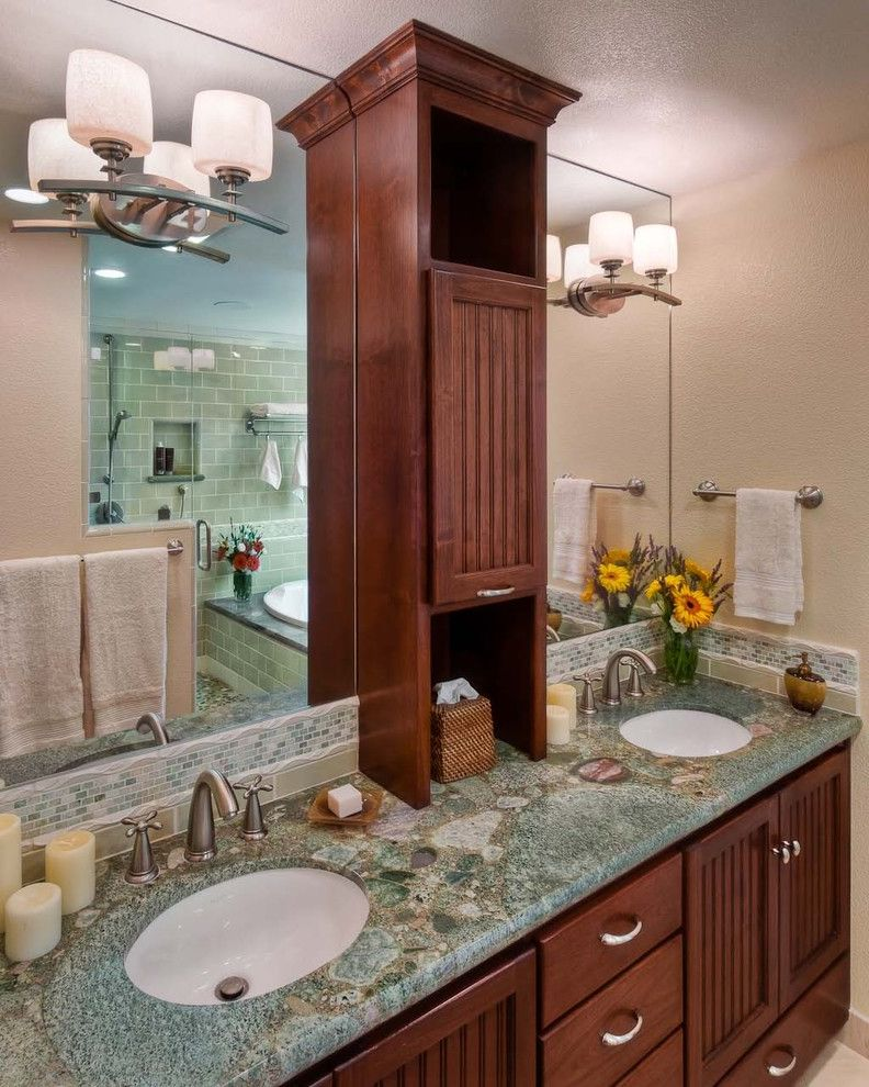 Appliance Center Maumee   Contemporary Bathroom Also Beadboard Brushed Nickel Counter Cabinet Dark Wood Cabinet Granite Counter Green Granite Green Tile Large Mirror Mini Subway Tile Subway Tile Tile Accent Undermount Sink Wood Vanity