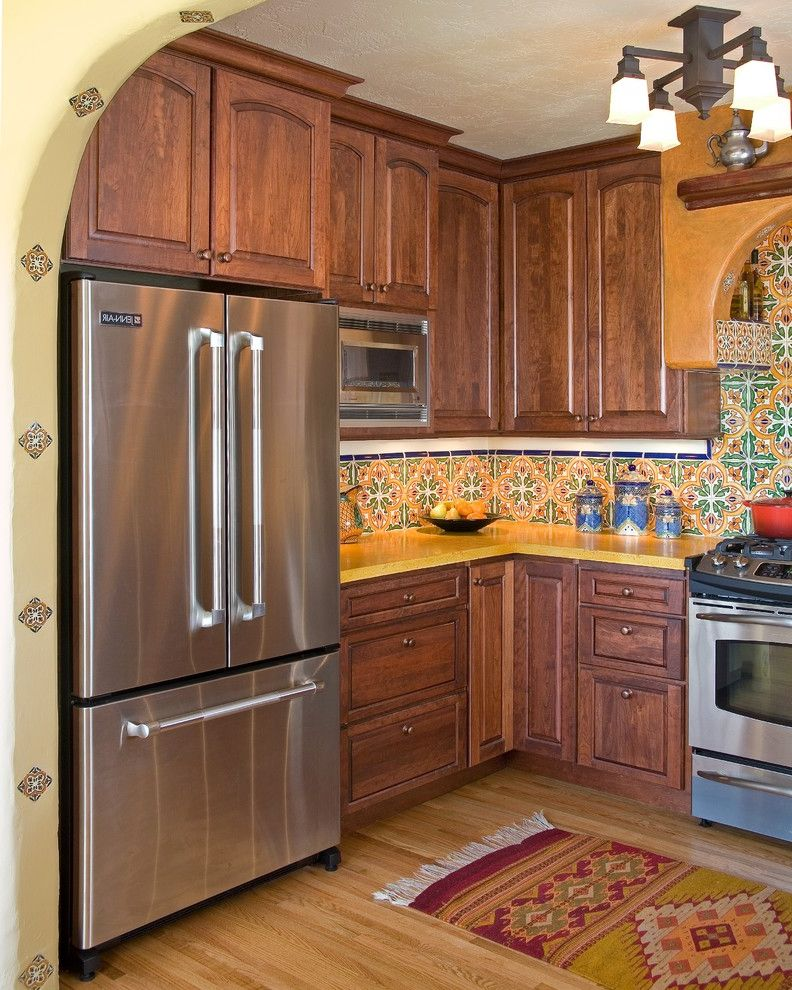 Arborist San Jose with Mediterranean Kitchen  and Archway Area Rug Ceiling Light Ceramic Tile Decorative Tile Hand Painted Tile Kitchen Backsplash Spanish Tile Wall Tile Wood Floors