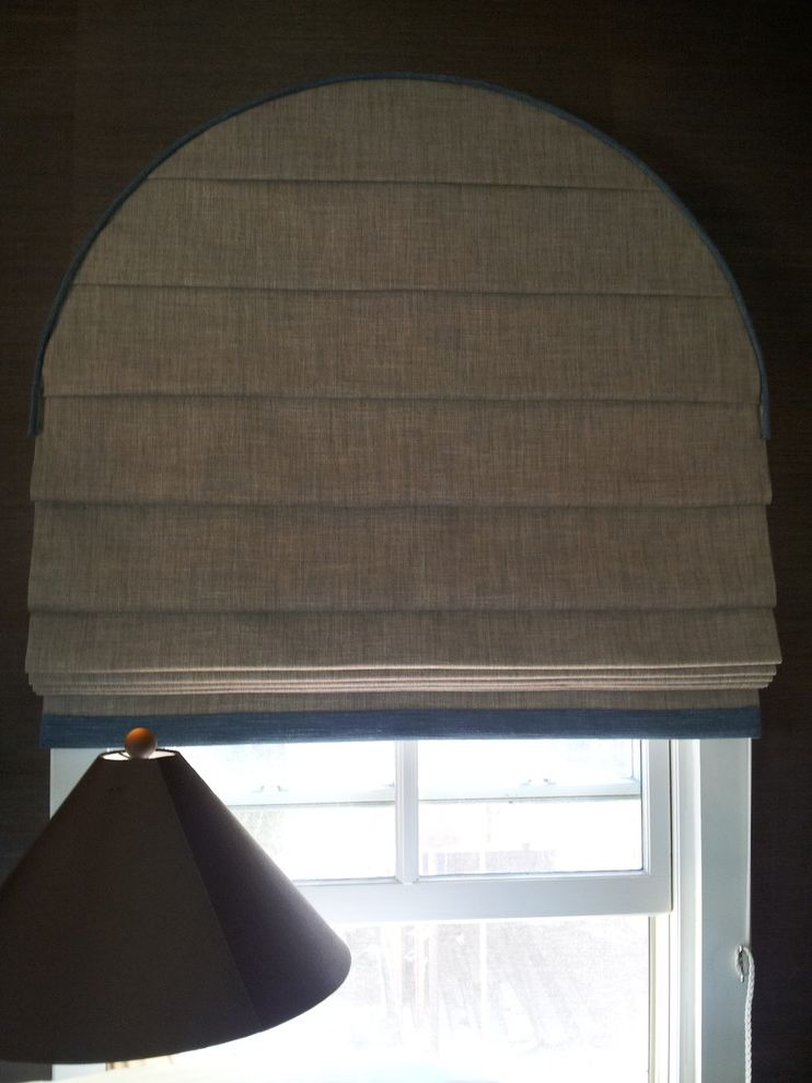Arch Window Shade   Contemporary Living Room Also Arched Window Roman Shade Curved Roman Shade Linen Roman Shade