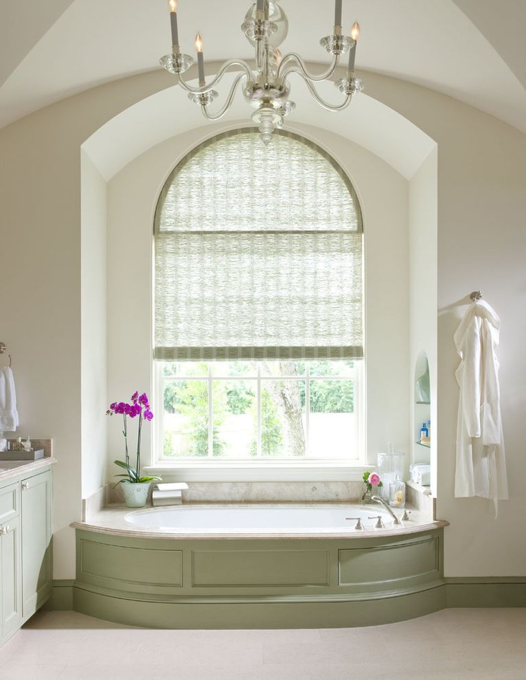 Arch Window Shade   Traditional Bathroom Also Alcove Arched Windows Baseboards Built in Shelves Chandelier Divided Lights Green Trim Green Wood Niche Nook Orchid Sage Green Soaking Tub Window Treatments Wood Tub Surround