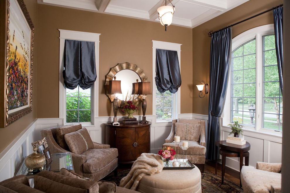 Arch Window Shade   Victorian Living Room  and Blue Drapes Brown Armchair Chair Rail Coffered Ceiling Deco Round Mirror Round Ottoman Sitting Room Victorian Wainscot White Trim