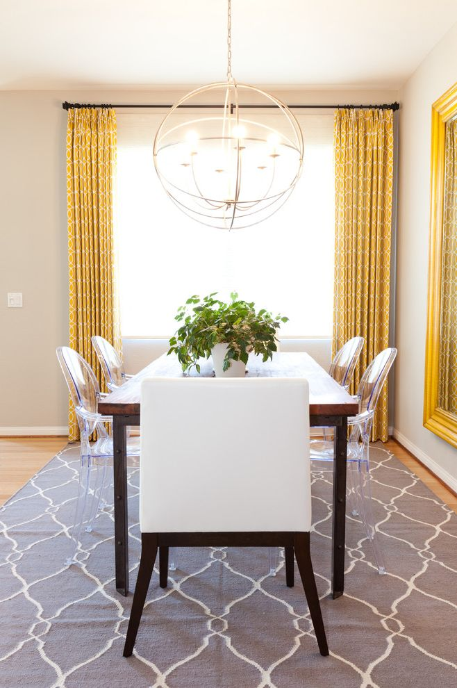 Area Rugs at Costco with Eclectic Dining Room  and Acrylic Chair Ghost Chairs Gray Area Rug Host Chair Lucite Orb Chandelier Wood Dining Table Yellow Drapes
