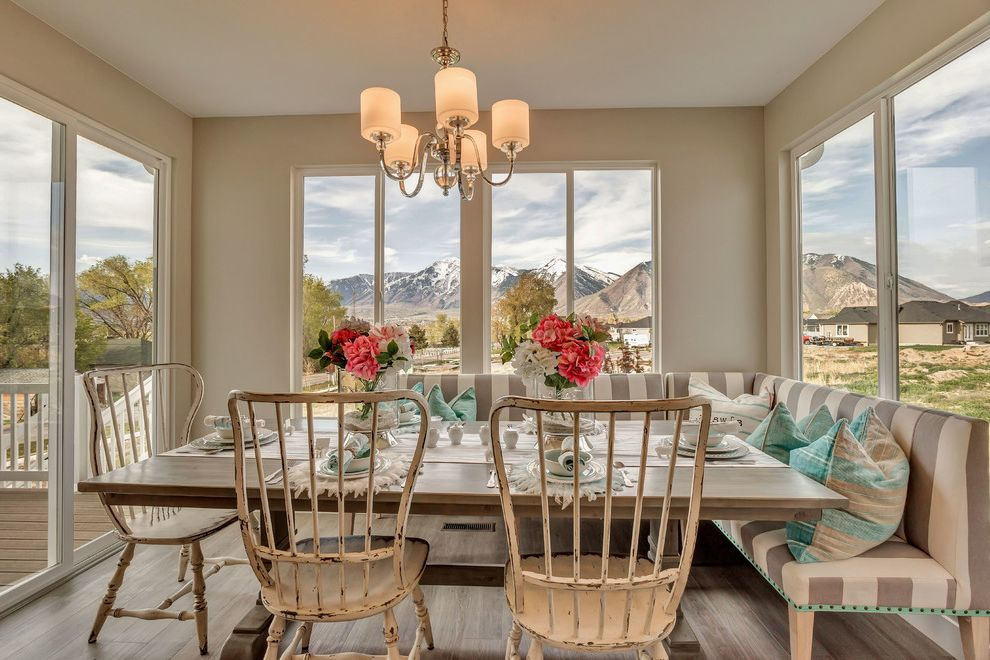 Arive Homes with Shabby Chic Style Dining Room Also Bench Seating Dining Bench Distressed Chairs Mountain View Place Settings Rectangle Dining Table Room with a View Sliding Glass Door Striped Bench Table Runner Teal Accent Color Window Bench