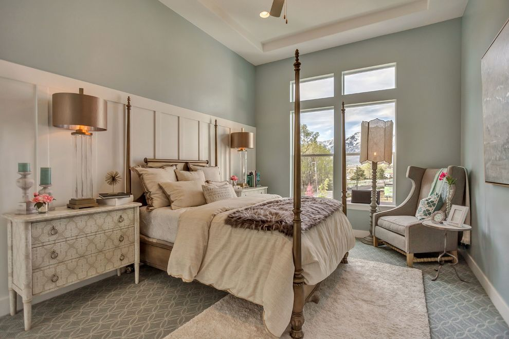 Arive Homes with Transitional Bedroom  and Bedside Table Dresser Chair Rail Clerestory Windows Dresser Floor Lamp Four Poster Bed Glass Table Lamp Green Walls Patterned Carpet Printed Dresser Tray Ceiling Wingback Armchair