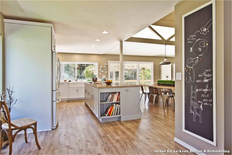 Armstrong Vinyl Floor Tiles with Contemporary Kitchen and Caesarstone Countertops Ceiling Lights Chalkboard Exposed Beams Kitchen Countertops Kitchen Island Neutral Colors Pendant Lighting Plank Flooring