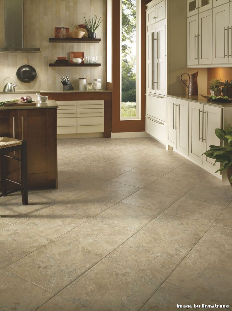 Armstrong Vinyl Floor Tiles with Contemporary Kitchen and Contemporary