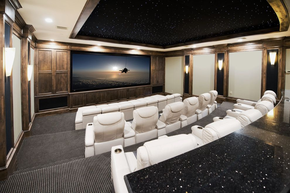 Arroyo Grande Theater   Traditional Home Theater  and Ceiling Treatment Counter Dark Wood Leather Chairs Movie Room Paneled Wall Screening Room Stars on Ceiling Wall Sconces