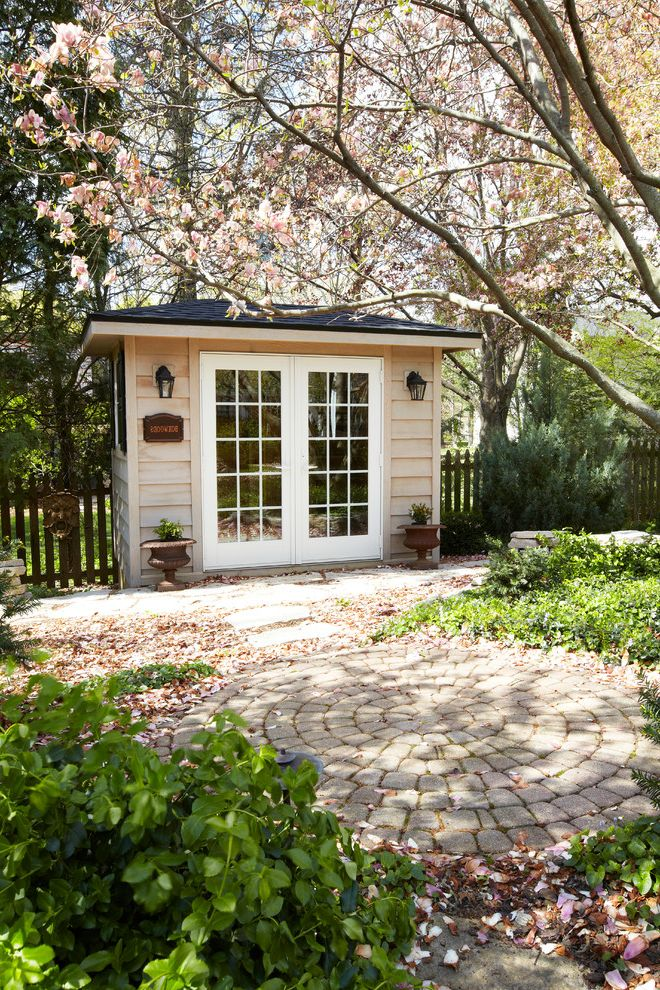 Art Van 14 Mile with Traditional Shed  and French Doors Garden House Garden Shed Guest House Landscape Patio Pavers Stone Stone Pavers Urn
