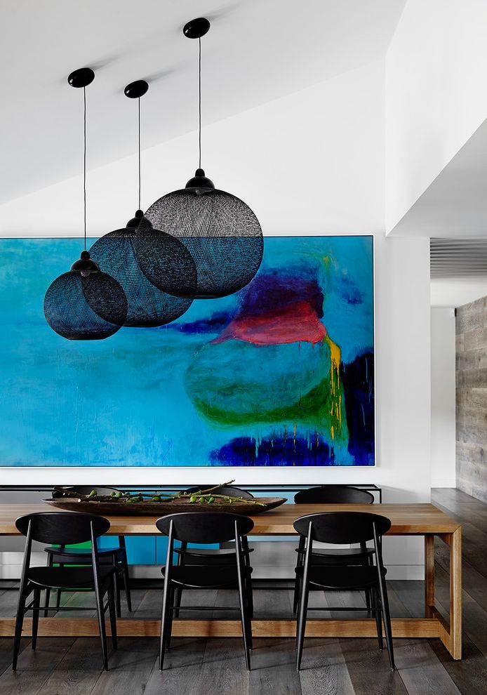 Art Van Furniture Locations with Contemporary Dining Room Also Abstract Painting Black Pendant Light Clean Expansion Modern Artwork Mondrian Sideboard Open Renovation Timber Table