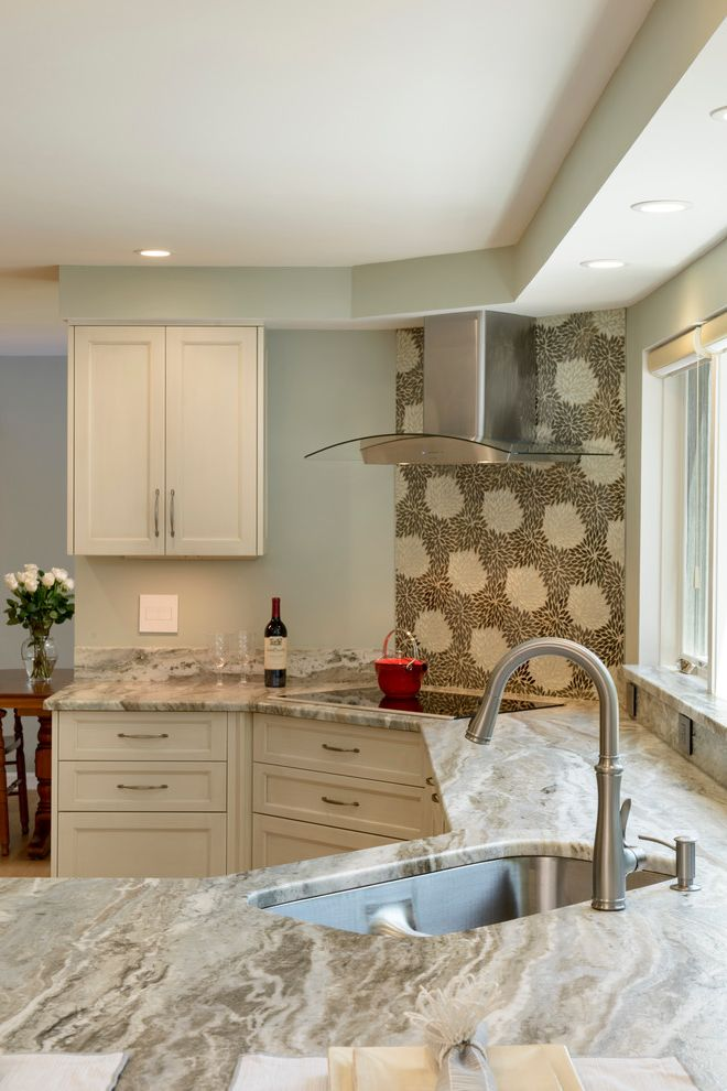 Ashbrook Furniture Nashua Nh   Transitional Kitchen Also Estrella Silver Fireplace Frameless Cabinets Golden Sand Tile Grey Quartzite Rustic Oak Slate Ultracraft Cabinets White Cabients Windows