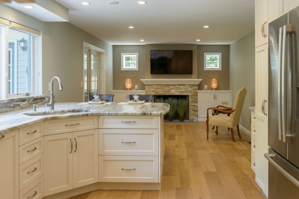 Ashbrook Furniture Nashua Nh   Transitional Kitchen  and Estrella Silver Fireplace Frameless Cabinets Golden Sand Tile Grey Quartzite Rustic Oak Slate Ultracraft Cabinets White Cabients Windows