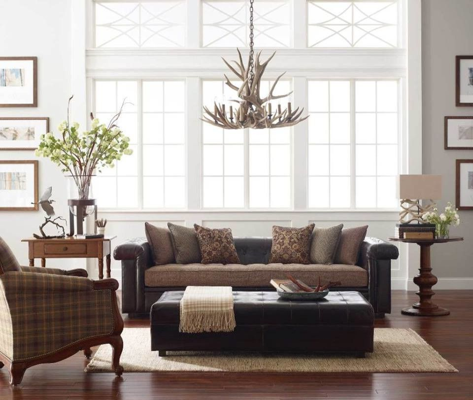Ashley Furniture Davenport Iowa   Traditional Living Room Also Neutral Decor Tufted Leather Ottoman Tufted Leather Sofa with Fabric Seat Wood Frame Chair