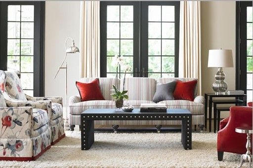 Ashley Furniture Davenport Iowa with Transitional Living Room Also Cocktail Table with Nailhead Trim Floral Chairs Red White and Blue Living Room Striped Sofa
