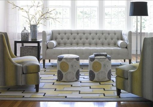 Ashley Furniture Davenport Iowa with Transitional Living Room  and Accent Chairs Bunching Ottomans Chairs Davenport Geometric Rug Gray and Yellow Living Room Interior Designer Iowa Knilans Furniture Interiors Neutral Decor Small Ottomans Tufted Sofa