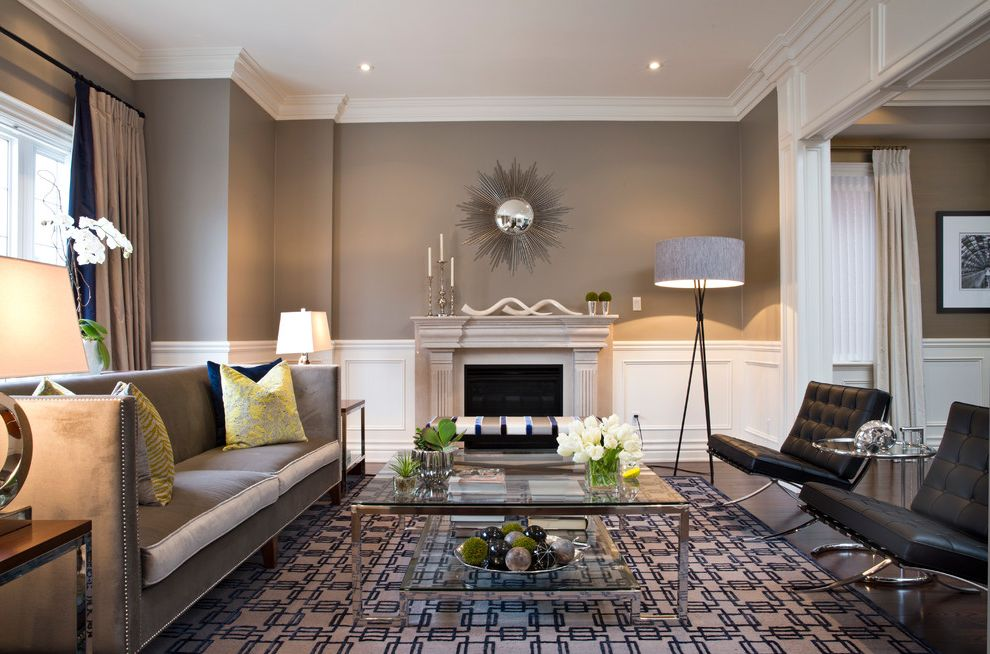 Ashley Furniture Sacramento   Contemporary Living Room Also Black Barcelona Chairs Starburst Mirror Over Fireplace Tall Floor Lamp in Corner
