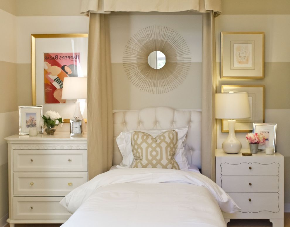 Ashlyn Furniture   Mediterranean Bedroom Also Bed Canopy Bedside Table Chest of Drawers Dresser Neutral Colors Nightstand Striped Walls Sunburst Mirror Tufted Headboard Twin Bed Upholstered Headboard Vintage Posters White Bedding