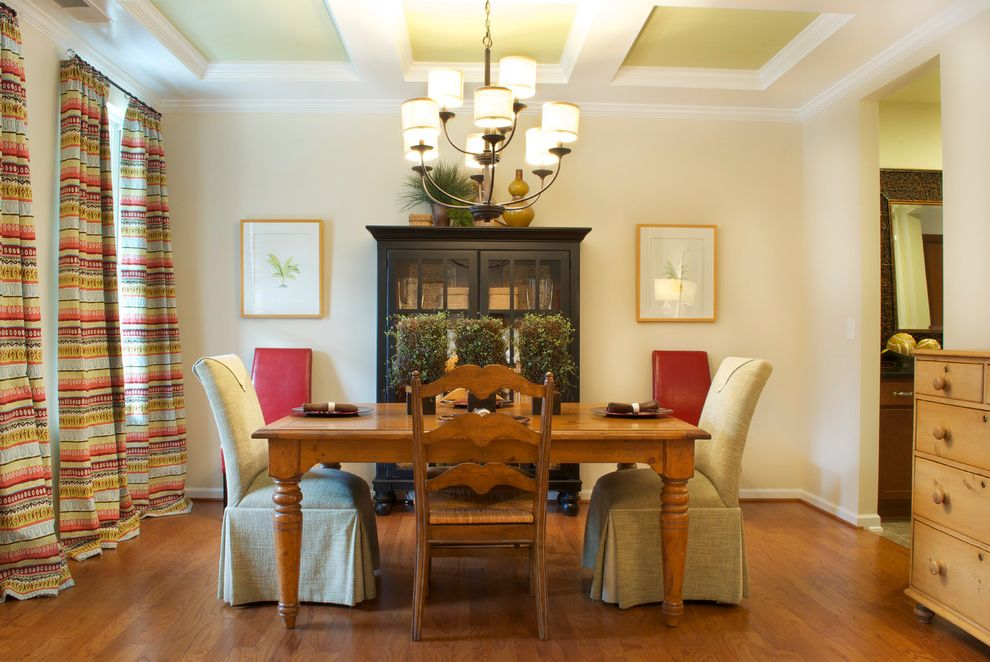 Ashlyn Furniture   Traditional Dining Room Also Beige Wall Ceiling Treatment Centerpiece Chairs Chandelier Coffered Ceiling Curtain Doorway Framed Wall Art Hardwood Floor Hutch Slipcovers Table Setting White Trim Wood Dining Table Wood Dresser
