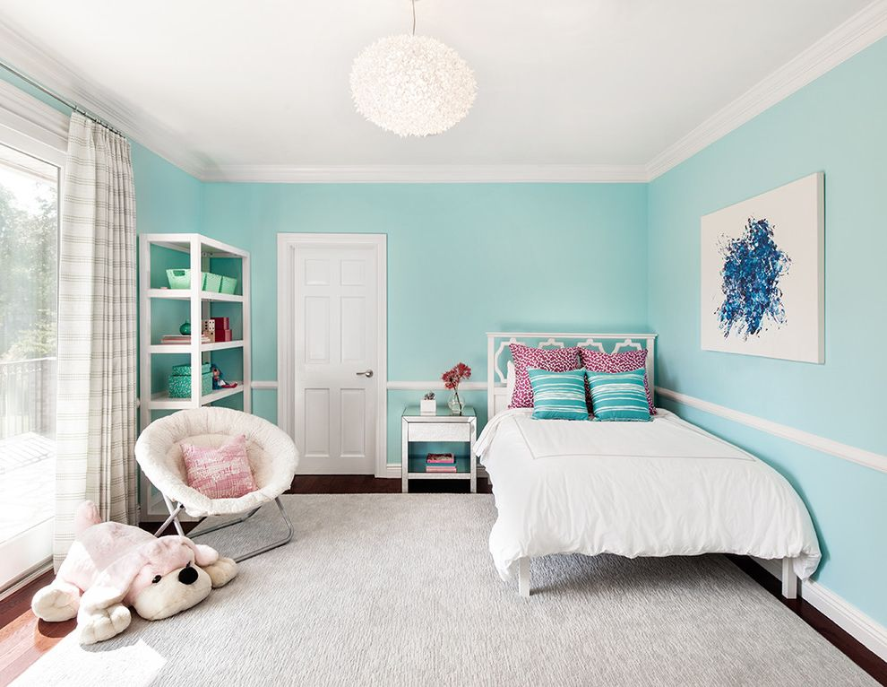 Ashlyn Furniture   Traditional Kids  and Area Rug Blue Walls Canvas Wall Art Crown Molding Large Window Mirror Side Table Open Bookshelf Papasan Chair Round Pendant Light Striped Curtains Stuffed Animal
