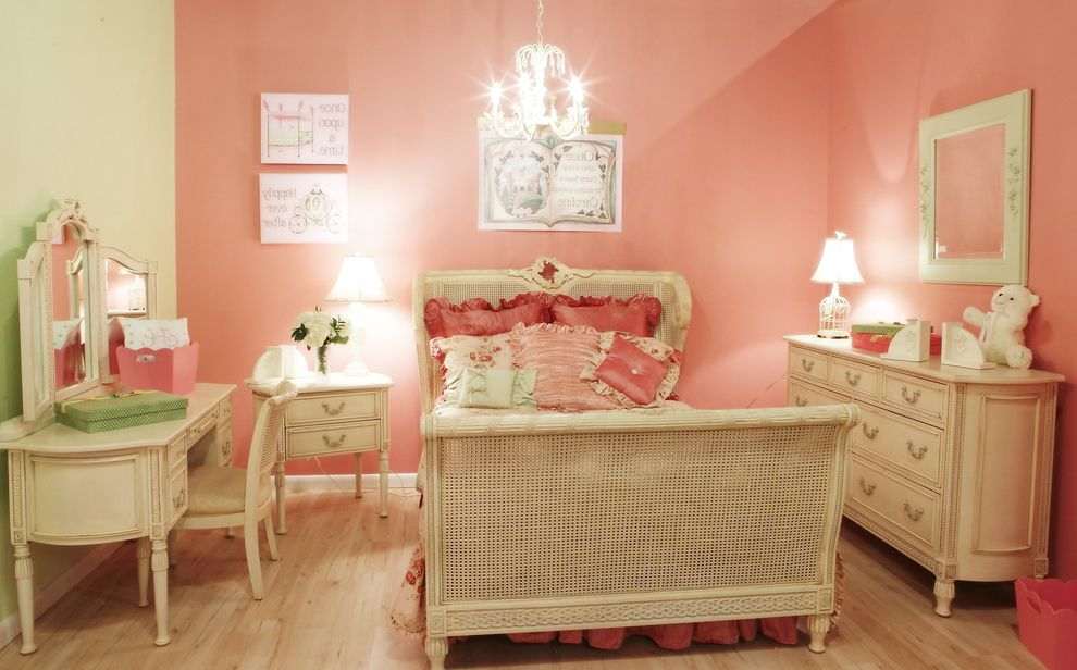 Ashlyn Furniture   Traditional Kids  and Bed Chandelier Cottage Desk Nightstand Pink Pink and Green Pink Wall Romantic Wood Floor