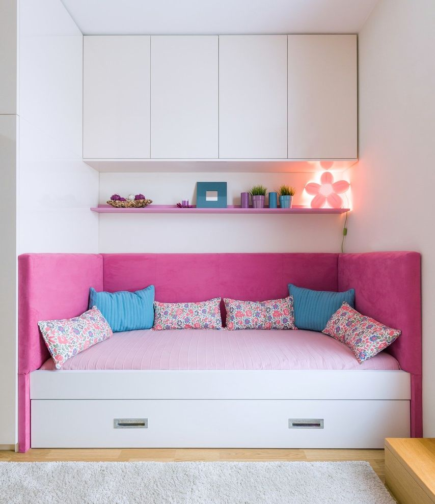 Ashlyn Furniture with Contemporary Kids Also Area Rug Blue Natural Wood Floor Pillows Pink Plush Shelf Storage Under Bed Drawers Upper Cabinets Wall Sconce