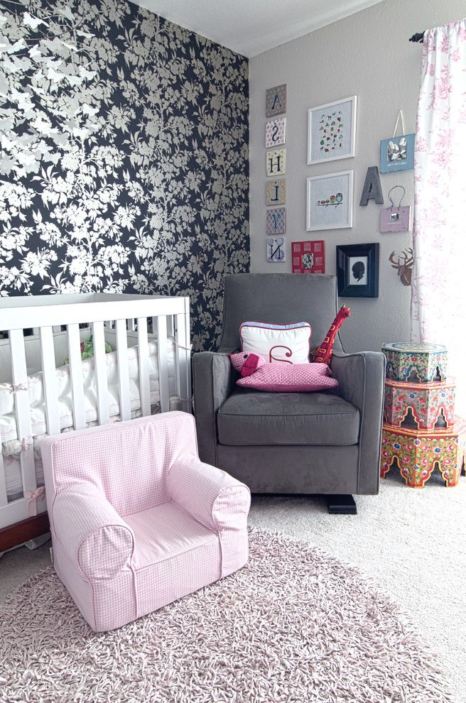 Ashlyn Furniture with Shabby Chic Style Nursery Also Accent Wall Floral Wallpaper Gallery Wall Glider Kids Furniture Modern Crib Monogram Morrocan Tables Neutral Colors North Bay Nursery San Francisco San Rafael Wall Art Wall Decor Wall Lettered