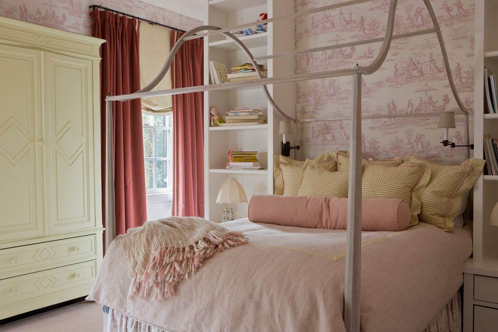 Ashlyn Furniture with Traditional Kids  and Accent Wall Alcove Armoire Bedroom Bolster Pillows Built in Shelves Canopy Bed Girls Room Niche Pink and Yellow Bedding Reading Lamp Toile Wallpaper Window Treatments