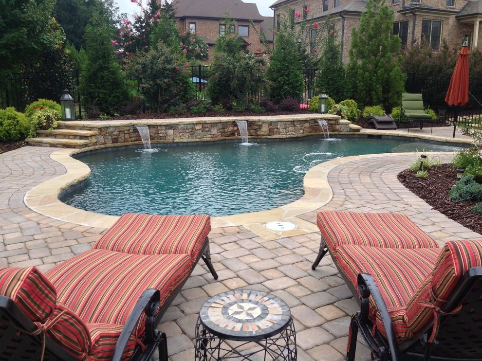 Atlanta Pool Builders with Craftsman Pool Also Atlanta Pool Atlanta Pool Builder Atlanta Pool Designer Beautiful Pools Free Form Pebble Finish Planting Area Swimming Pool Water Feature