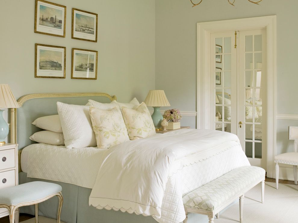 Atlantic Bedding and Furniture Nashville Tn with Traditional Bedroom  and Framed Wall Art French Doors Mint Shabby Chic Bed Shabby Chic White Bench White Bedding
