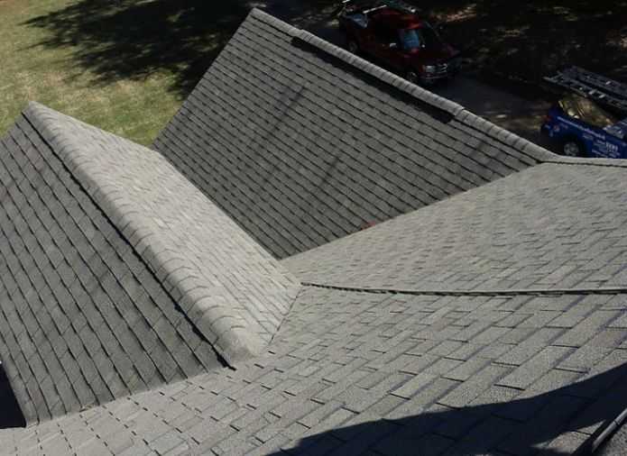 Atlas Chalet Shingles with Modern Exterior  and Atlas Chalet Duration New Roof Owens Corning Reroof Shingles Teak Wind Damage