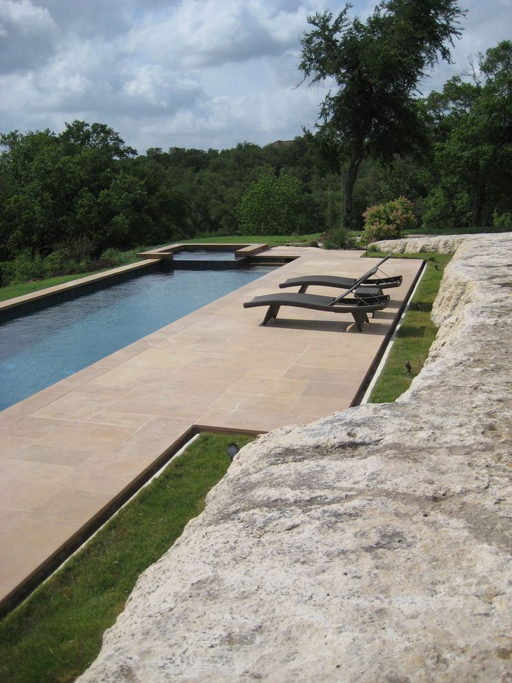 Austin Springs Spa   Contemporary Pool  and Boulders Chaise Lounge Grass Hot Tub Lap Pool Lawn Patio Furniture Pool Rocks Spa Turf