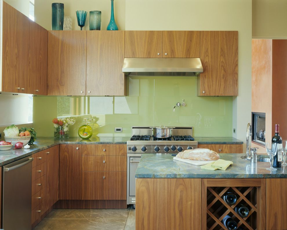 Auto Glass Unlimited with Contemporary Kitchen and Celadon Backsplash Green Countertop Pot Filler Wine Storage