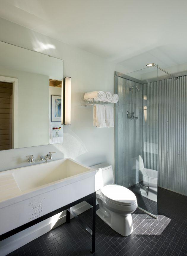 Auto Toyz Iowa City with Farmhouse Bathroom Also Bathroom Farm Bathroom Farm Sink Galvanized Glass Partition Mirror Modern Bathroom Natural Light Shower Simple Steel Sustainable Tile White