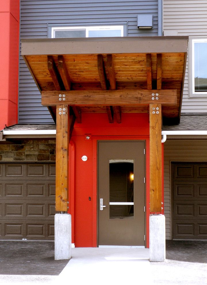 Avalon Alderwood   Modern Entry Also Apartments Exterior Entry Red Accents Wood Exterior